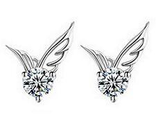 052 Damen Ohrringe Ohrstecker Engelsflügel 925 Silber Pl 2 Zirkon Weiß