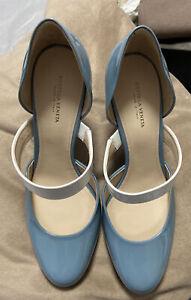 Bottega Veneta Women's Blue Patent Leather Heels 39/uk6