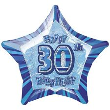 """30TH BIRTHDAY CELEBRATIONS""   30th Glitz Blue 20"" Foil Balloon!"