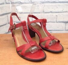 LADIES CLARKS RED SANDALS SIZE 5.5 UK LEATHER HEELED SUMMER EXCELLENT CONDITION