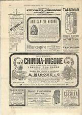 Stampa antica pubblicità ANTICANIZIE MIGONE Cantine TREZZA 1894 Antique print