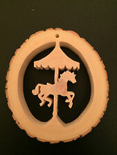 RECLAIMED TREE SLICE - HORSE CAROUSEL -  CHRISTMAS / WINDOW / WALL DECORATION