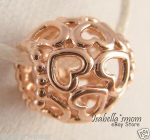OPEN YOUR HEART Authentic PANDORA Rose GOLD Plated Openwork LOVE Charm 780964