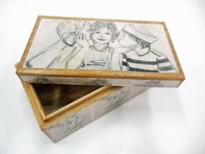 David Bromley Commissioned & CERTIFIED decoupage BOX - ONE OFF 16x9x7cm WOOD