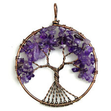 Natural Amethyst Chip Bead Tree of Life Reiki Chakra Copper Pendant for Necklace