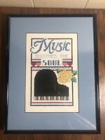 MUSIC SOOTHES THE SOUL Counted Cross Stitch Framed Wall Decor  9 x 12  Piano