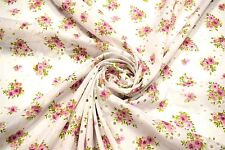 """Pink Perforated 100% Cotton Lawn Fabric Floral Embroidered 54""""W Sheer Apparel"""