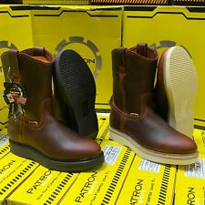MEN'S WORK BOOTS GENUINE LEATHER BROWN POLYURETHANE CLEAR SOLE BOOTS #107