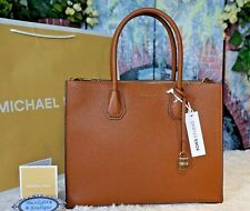 NWT MICHAEL KORS MERCER LARGE Convertible Tote Satchel LUGGAGE Leather $298