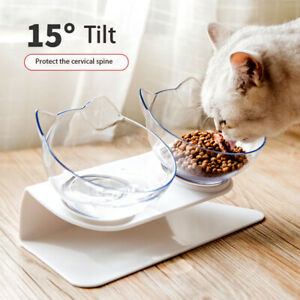 Food Dish Tilted Transparent Pet Feeder Cats Bowl Cat Ears Shaped Slow Eating C.