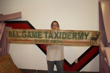 """Large Vintage 1950's All Game Taxidermy Deer Hunting  Gas Oil 72"""" Wood Sign"""