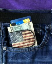 American Flag Money clip Leather Money Clip with US Flag USA Magnetic money clip