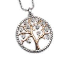 925 Silber Anhänger Lebensbaum durchbrochen mit Zirkonia, 26mm rose vergoldet
