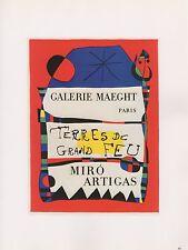"""1989 VINTAGE """"TERRES DE GRAND FEU"""" MIRO MOURLOT MINI POSTER COLOR Art Lithograph"""