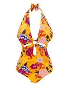 JD Williams Ladies Swimming Costume One Piece Bikini Plunge Swimsuit Size 28 New