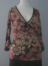 TRUELIGHT Size S Multi-Color Bell Sleeve V-Neckline Knit Top