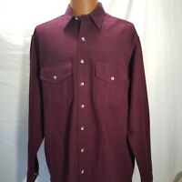 Vintage Eddie Bauer Large Tall Shirt Heavy Flannel Maroon Made In USA Burgandy