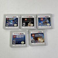Lego Batman Star Wars Jurassic World Nintendo 3DS 5 Game Lot Tested Authentic