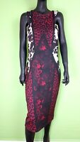 Next Tall Knee Length Dress UK 14 Tall Bodycon Floral Red Black Wiggle