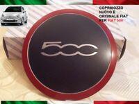 1 coppa ruota FIAT 500 ROSSO ORIGINALE cerchi in lega stemma COPRIMOZZO hub cap
