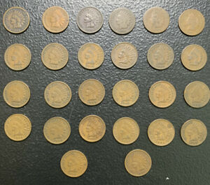 Indian Head Cent Collection In Dansco Album 1865 - 1908 /26 Coins & *No Reserve!