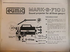 Instructions cine movie projector EUMIG S-710D 8mm - CD/Email