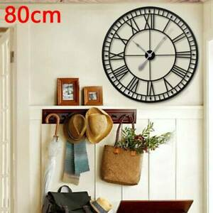 Large Metal Skeleton Roman Numeral Wall Clock Round & Square Shape 40/60/80cm