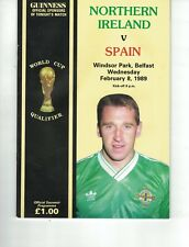 NORTHERN IRELAND v SPAIN 8th February 1989 World Cup