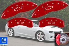 2012-2015 Chevy Camaro ZL1 Front + Rear Red Bowtie MGP Brake Disc Caliper Covers