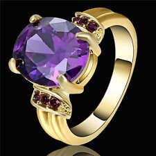 Size 8 Purple Amethyst CZ Wedding Ring 18K Yellow Gold Filled Women's Jewelry