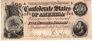 1864 CU Crisp Uncirculated Ink Hand Signed CSA Confederate 500 Dollar Note