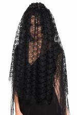 Black Widow Velo Negro con Flores, Disfraz de Halloween Accesorios