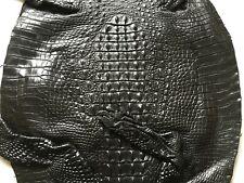 Crocodile Skin Leather Hide Exotic Skin Craft Supply Hornback Black 45cm #CR-07
