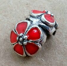 1PC Red Enamel Blossom Flower Safety Locking Clip European Charm Bead Stopper