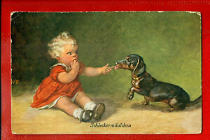 GIRL AND DOG DACHSHUND VINTAGE POSTCARD 456