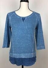 Wrap Designed in London Hemp Tunic Top Size 2 (Small) UK 6 Blue Burnout 3/4 Slv