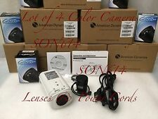 Lot 4 ADCA3XP230 CCTV 600TVL 3.5-8mm PAL Security Color Cameras & AC Power Cords