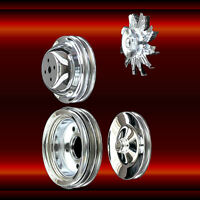 Chrome 4 Pulley Set for Big Block Chevy Short Water Pump 396 427 454 1965-1969