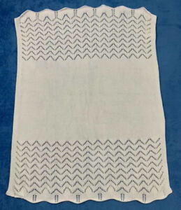 "Silver Cloud White Baby Blanket Cotton Knit Pram Shawl Soft 27.5 X 35"""