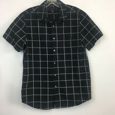 21 Men Men's Window Pane Pattern Button Up Short Sleeve Shirt  - Size M