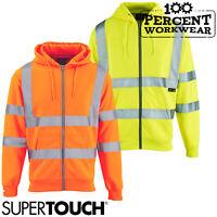 Supertouch High Visibility Zipped Full Zip Hooded Hoodie Hoody Sweatshirt Top