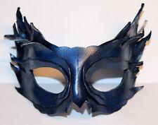 BLUE SHINE Piuma Maschera Pelle a Mano VENEZIANO Masquerade