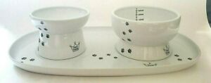 Necoichi Ceramic Three Piece Raised Cat Bowls with Tray