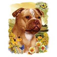 """Staffordshire Bull Terrier (Amstaf) &Flowers -One18x22"""" Panel to Sew.Pic is9x11"""""""