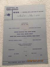 1950 Baltimore & Ohio RR Car Menu from Evansville IN High School New York Tour