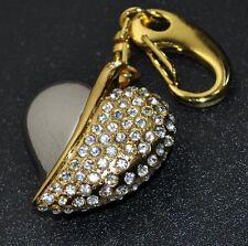 USB Stick 8 GB HERZ Schmuck Schlüssel Taschen Anhänger Strass gold-farbig Heart
