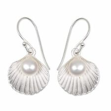 Pearl Dangle Earrings Sterling Silver Shells 'Gift from the Sea' NOVICA Bali