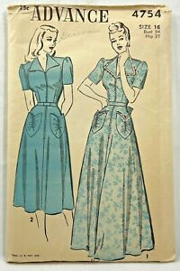 1940s Vintage Advance Sewing Pattern 4754 Womens Dress 2 Lengths Size 16 9853