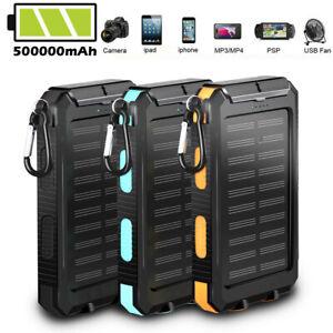 500000mAh Solar Waterproof Power Bank External Mobile Phone Fast Battery Charger