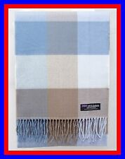 100% Cashmere Scarf Blue Brown Check Plaid Scottish Ghram Wool Infinity Z434